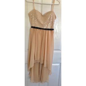 Peach high low midi dress